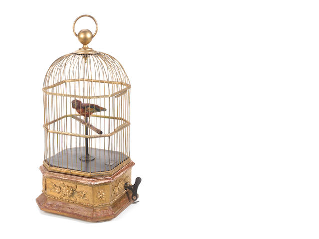 A singing bird-in-cage, by Phalibois, circa 1890,