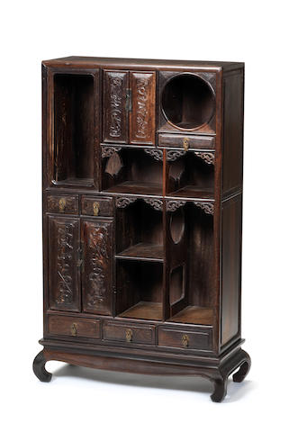 A rare carved zitan rectangular display cabinet 18th century