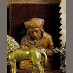 An early 17th century German wax relief of a fisherman together with an 18th century fruitwood bust of a gentleman