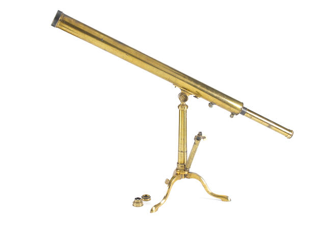 A James Chapman 2-inch brass refracting telescope on stand,  English,  late 18th century,