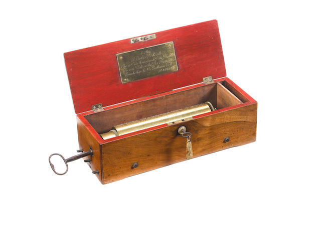 A fine and early key-wind hooked-tooth musical box playing four airs, by Ducommun Girod,  circa 1834,