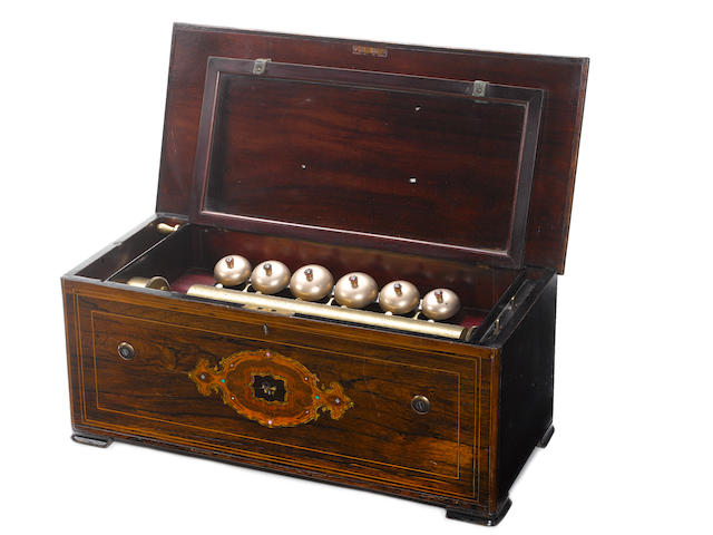 A bells-en-vue musical box playing ten airs, circa 1877,