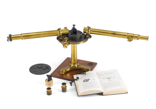 A John Browning multi-prism brass spectroscope, English, late 19th century,