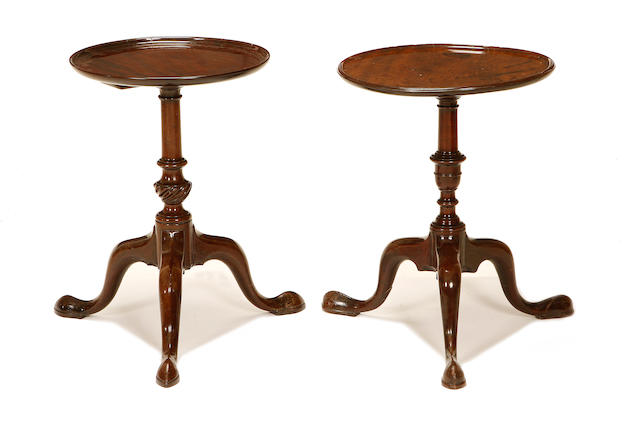 Two George III mahogany wine tables
