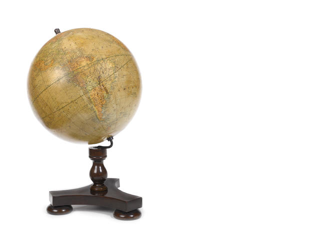 A S Smith & Son 12-inch terrestrial table globe,  English,  mid 19th century,