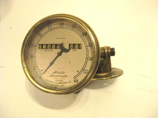 A brass 60mph speedometer Model 26 by Stewart & Clarke Chicago