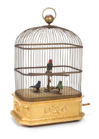 A good triple-singing birds-in-cage, by Phalibois,  circa 1890,