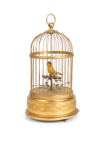 A single singing bird-in-cage, French, similar to K. Griesbaum, circa 1930,
