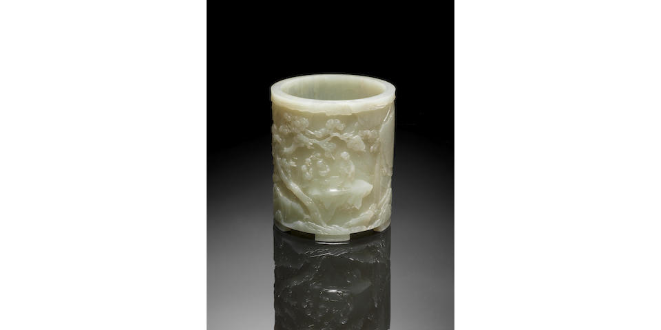 An important and rare pale green jade brushpot, bitong Incised Qianlong four-character mark, 18th century