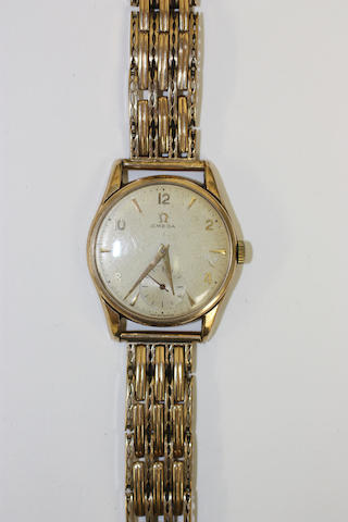 Omega: a gentleman's 9ct gold manual wind wristwatch