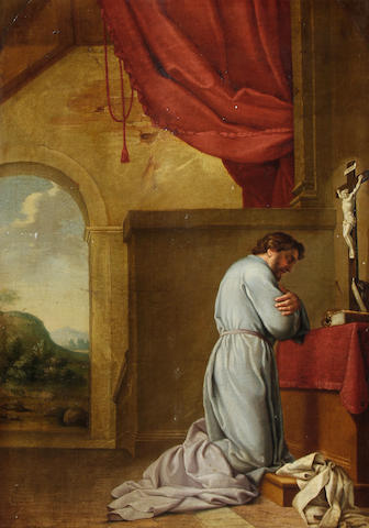 After Eustache Le Sueur, 18th Century A monk meditating before an altar