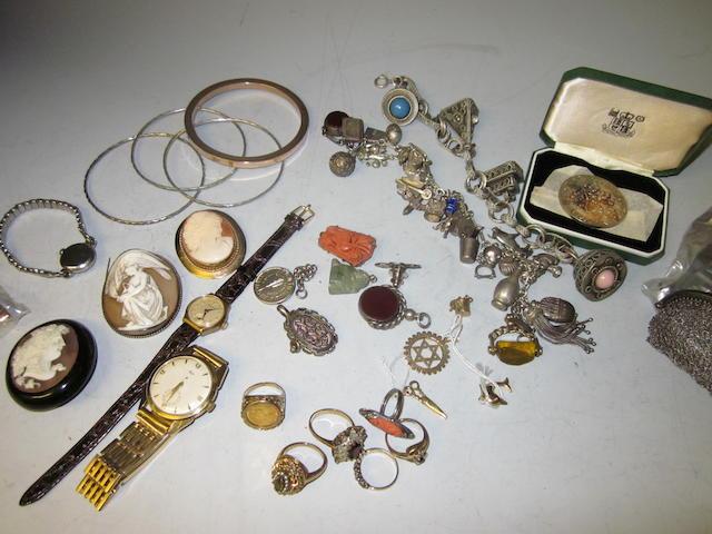 A Victorian cameo brooch,  (Qty)