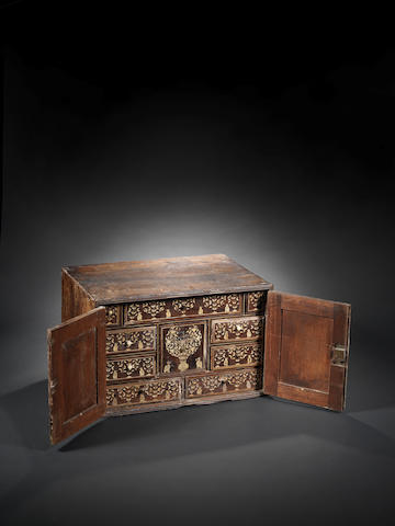 A late 17th century Gujarat inlaid cabinet, some inlay missing
