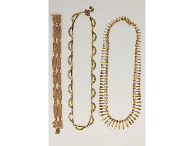 18ct woven bracelet, 18ct fringe necklet, 9ct bracelet