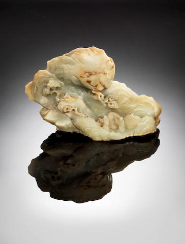 A green and russet jade mountain 17th/18th century