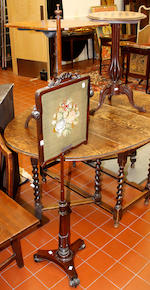 A Victorian inlaid walnut oval games table,61cm wide; an octagonal rosewood tripod table; a 19th Century pole screen; a Victorian open armchair; and a Victorian ebonised child's chair, (5)