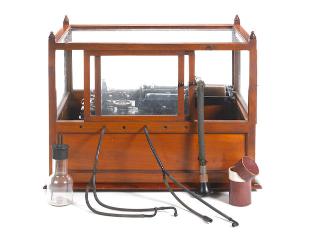 An Important Edison Class M electric phonograph in glazed case, early manufacture circa 1891, with later modifications,
