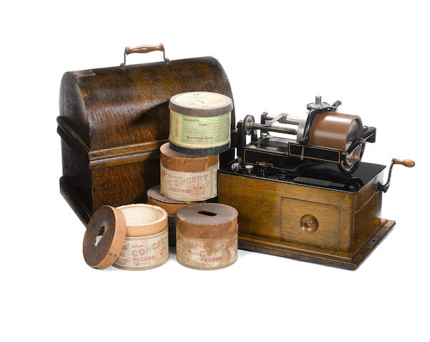 A good Edison Concert phonograph, with Concert cylinder collection, circa 1899,