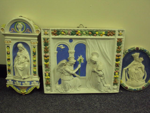 A Della Robbia-style plaque of the Annunciation