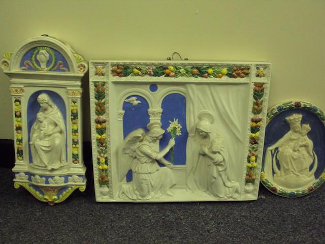 A Della Robbia-style plaque of the Annunciation
