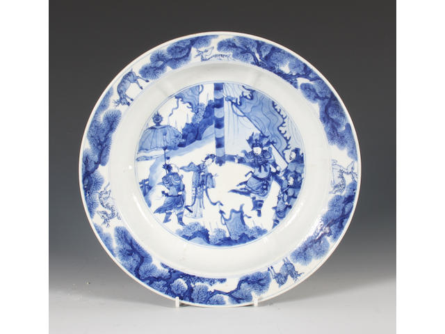 A Chinese blue and white dish, 18th century