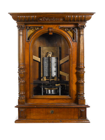 A coin-operated 19.5/8-inch Polyphon upright disc musical box, circa 1886,