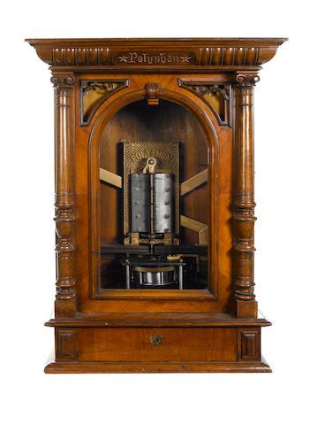 A walnut Polyphon disc musical box, model No. 36F