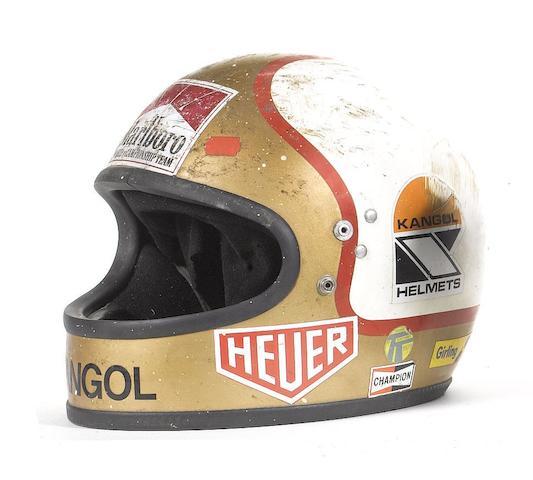 Mike Hailwood's 1979 Senior TT winning full-face motorcycle helmet by Kangol,