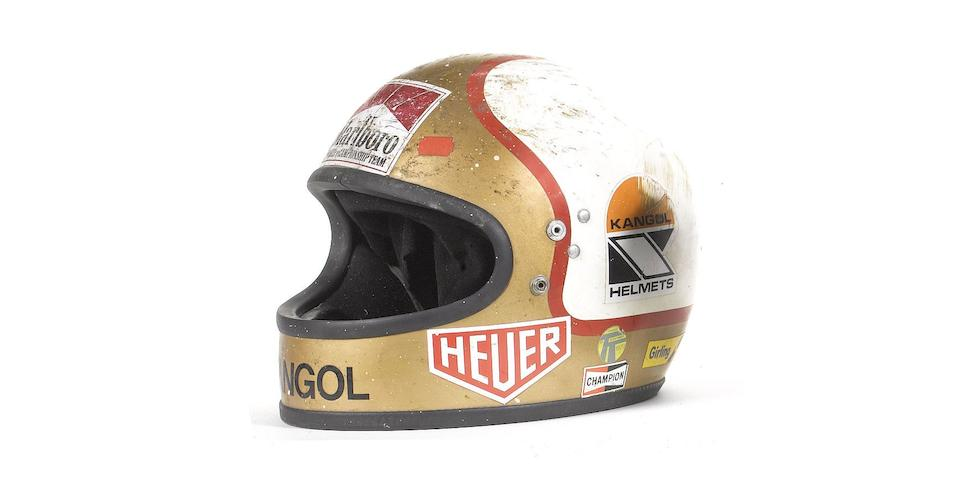 Mike Hailwood's 1979 Senior TT winning full-face motorcycle helmet by Kangol,