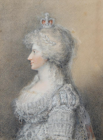 English School, late 18th Century Caroline of Brunswick (1768–1821), Princess of Wales (1795-1820), Queen Consort of Great Britain and Ireland (1820-1821), half-length, profile to the left, wearing pale blue embroidered dress with lace trim, lace slip, a diamond pendant brooch at her corsage, laurel leaf tiara and crown