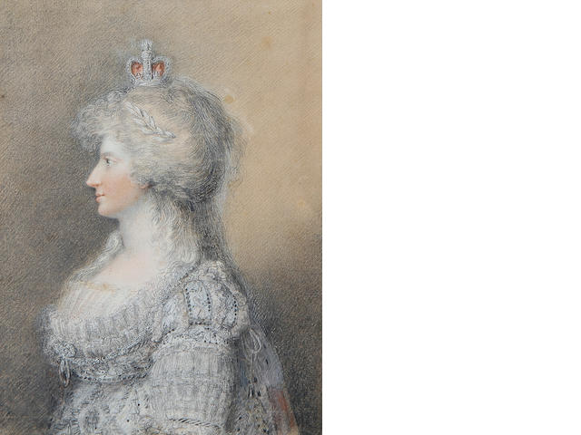 English School, late 18th Century Caroline of Brunswick (1768–1821), profile to the left, wearing pale blue embroidered dress embellished with lace trim to the sleeves and decollete, lace slip, a diamond pendant brooch at her corsage, a laurel leaf tiara and crown