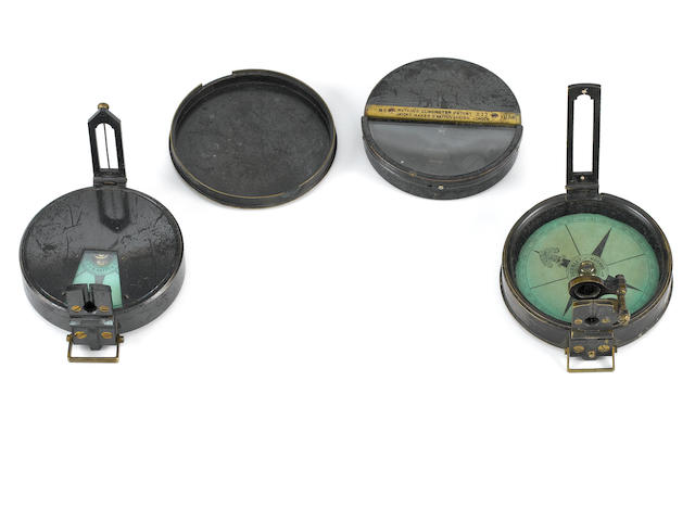 A Hick combined prismatic compass and Watkin's clinometer,  English,  circa 1900,  (2)