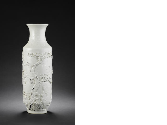 A white-glazed rouleau vase inscribed with a wang bing rong sealmark