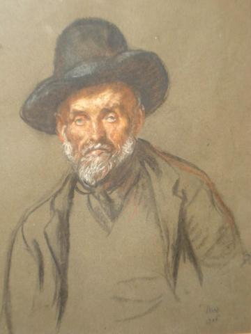 Francis Dodd (British, 1874-1949) Portrait of an elderly man wearing a hat