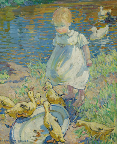 Dorothea Sharp (British, 1874-1955) Feeding ducks 60 x 50cm