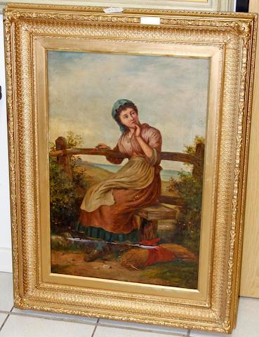 Furner, Portrait of a girl, oil on canvas (damaged)