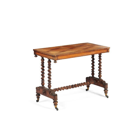 A Victorian walnut and satinwood sofa table