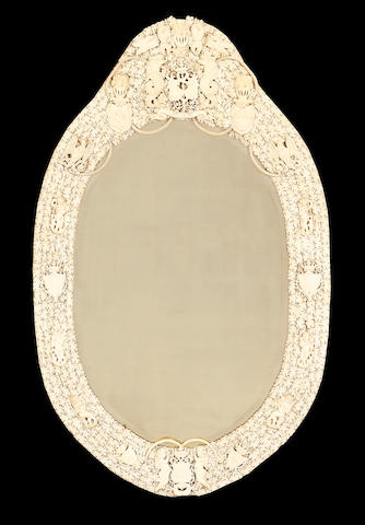 A large 19th century Dieppe ivory mirror decorated with the Belgian royal crest