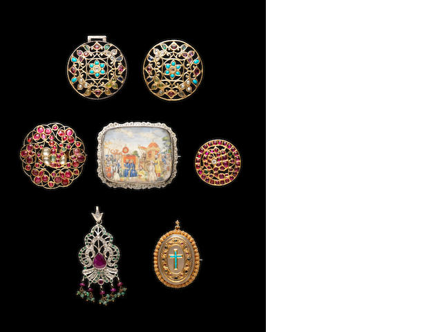 Mughal diamond and gemset jewellery, 2 part buckle, 4 other pieces, miniature brooch and min Koran. (7)