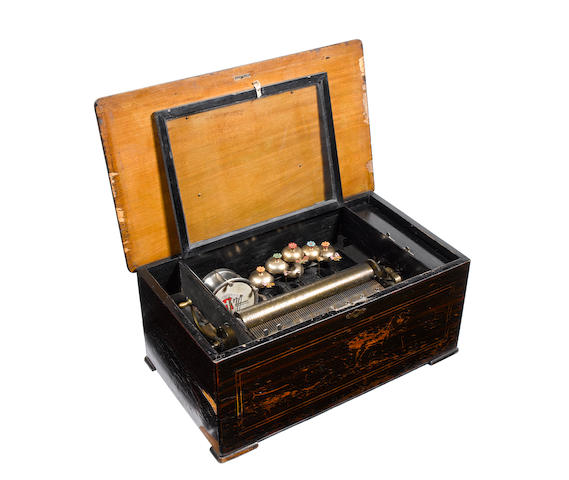 A Bell et Drum Visible musical box, playing ten airs,  circa 1890,