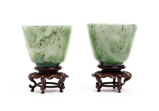 A pair of spinach jade bowls 19th Century