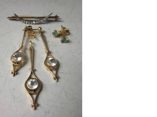 A late Victorian diamond set crescent brooch,