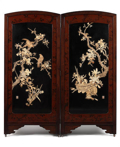 A two-fold lacquered-wood inlaid screen By Kurihara, Meiji Period