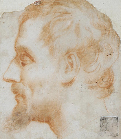 Italian School, 17th Century  Study of a Man, in profile facing left, together with five other studies. (6)