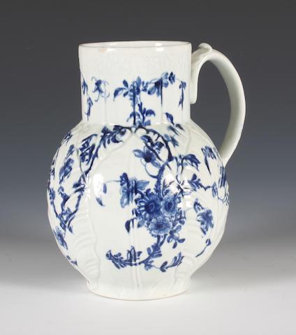 A Worcester cabbage leaf jug, circa 1755-60
