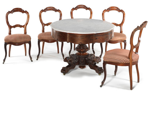 An unusual William IV barrel piano breakfast table suite, circa 1830,