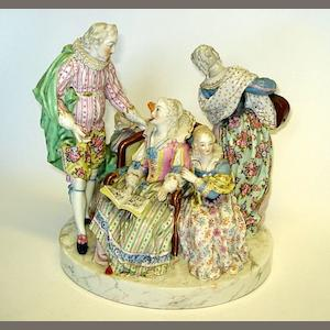 A Meissen style porcelain figure group Late 19th/early 20th Century