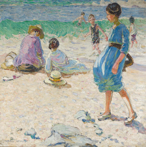 Dorothea Sharp, Figures on a beach, Signed lower left, oil on canvas, 32 x 32""