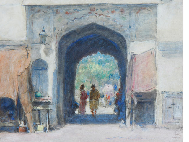 Mortimer Luddington Menpes RI, RBA, RE (British, 1855-1938) An Indian gateway, watercolour An Indian gateway, watercolour
