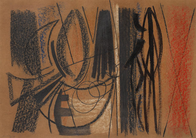 Hans Hartung (German, 1904-1989) Untitled 1948  signed and dated 48 mixed media on brown card